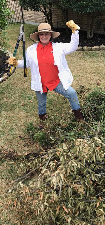 "Cherie Colburn from Woodlands, Texas loves her DR Power Equipment ratcheting loppers that she says made her ""Superwoman at pruning again."""