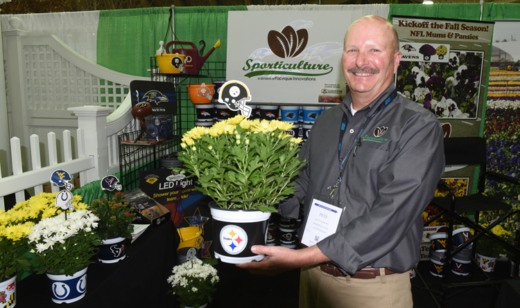 Pete Gilmore, director or business development for Sporticulture, is a good sport holding up this Steelers plant, considering he loves the Baltimore Ravens. He was showing off the plant at the Mid Atlantic Nursery Trade Show in Baltimore.