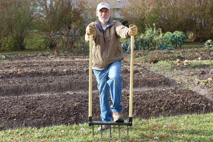 Noel Valdes, inventor of the CobraHead weeder has used a tool called a broadfork to create his raised beds. Raised bed gardening