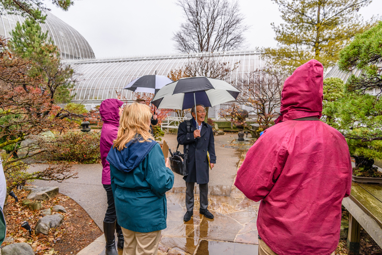 Japanese landscape designer Hoichi Kurisu visits the Japanese Courtyard Garden at Phipps Conservatory and Botanical Gardens he desiged in 1991.