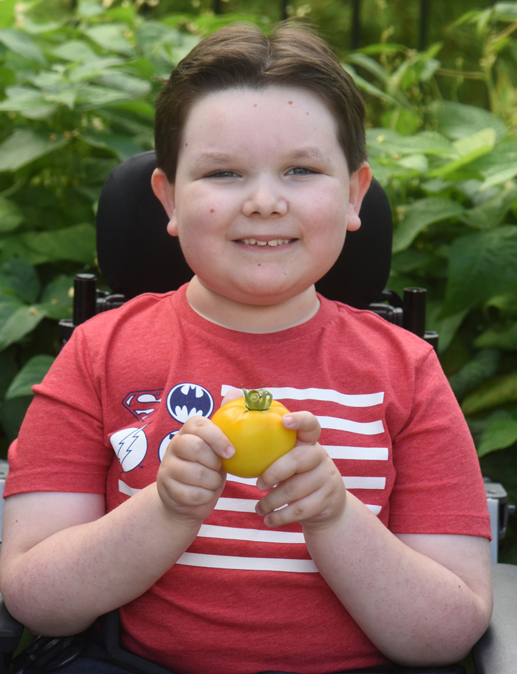Reid Hall, 9, shows off a yellow tomato he picked out of the family's raised bed garden in Allison Park. Reid has spinal muscular atrophy, a genetic neuromuscular disorder. He enjoys being in the garden and loves the produce too.