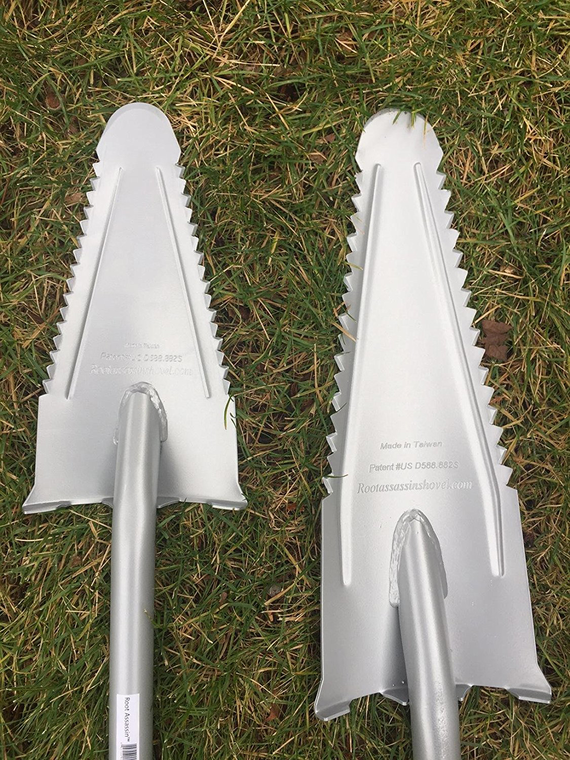 Here are both versions of the Root Assasin Serreted Shovel.