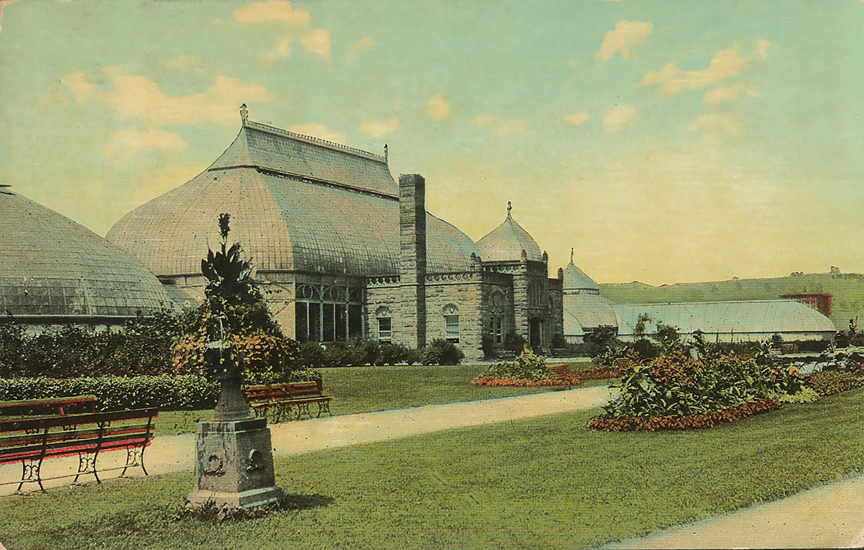 A view of Phipps Conservatory during the late 1800's.