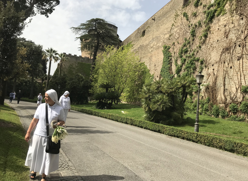 A nun walks through the Vatican Gardens holding a bunch of hyacinths salvaged from flats of bulbs past their prime which were being stored in the garden.