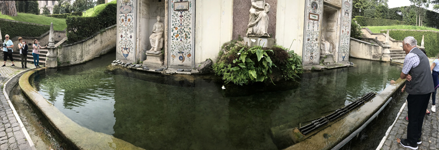 The Nympheum of the Casina Pio IV at the Vatican Gardens in Rome is a monument to nymphs. Turtles sun themselves on the edge of the water.