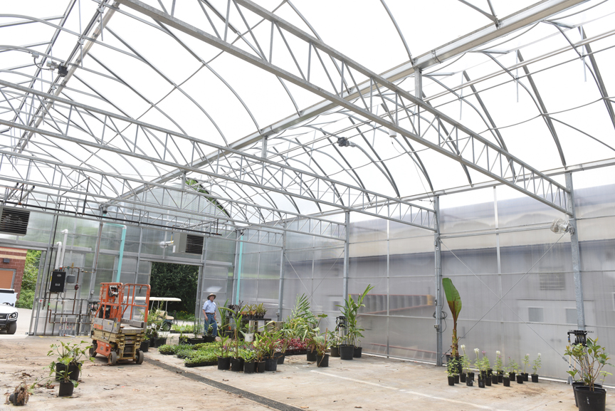 Frank Pizzi is curator of horticulture and grounds at the Pittsburgh Zoo & PPG Aquarium. He oversaw the construction of a new, state of the art greenhouse at the zoo. He's also planning on retiring in October. Here he walks through the large greenhouse which will house many large and tender plants over the winter.