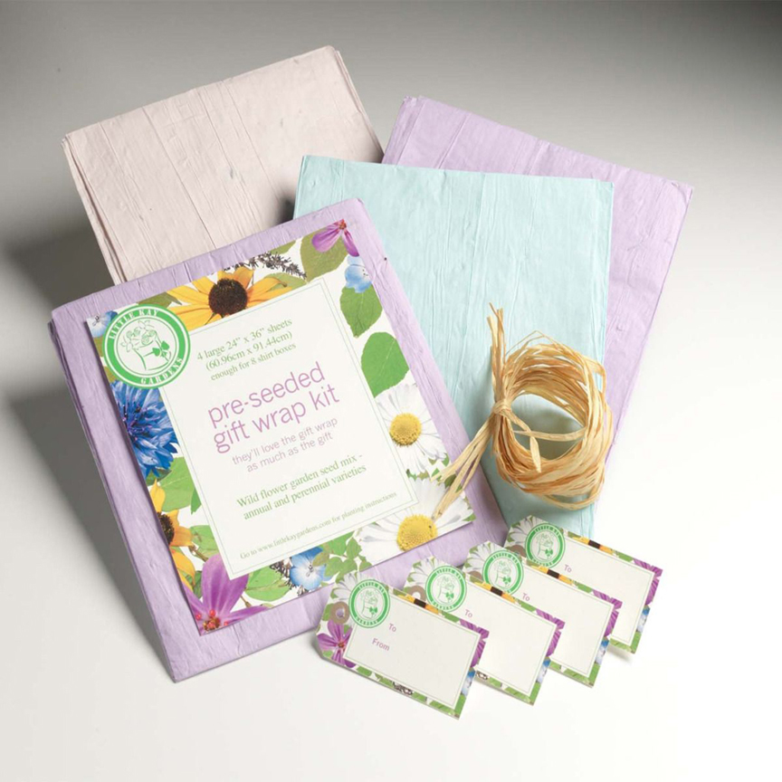 lowering Seeded Gift Wrap Kit has wildflower seeds embeded in the paper. After unwrapping, the paper can be planted in the garden.