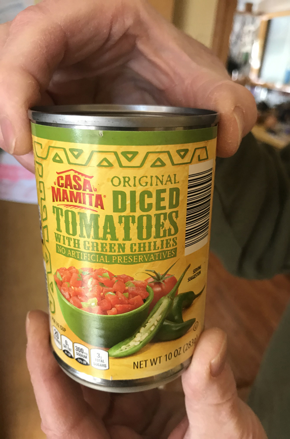 Dave Taiclet of Ross adds a can of these diced tomatoes when making his famous hot pepper elixir.