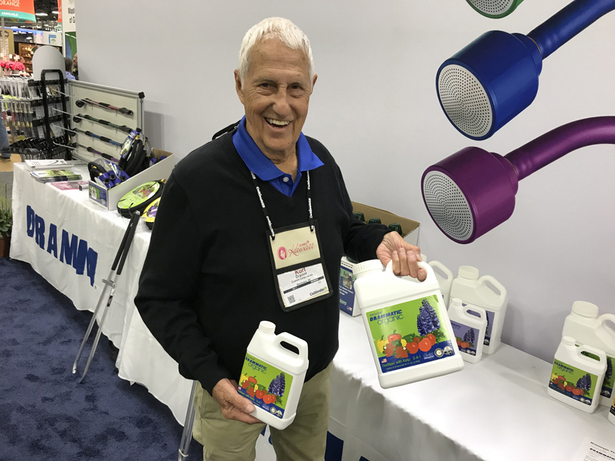 Kurt Dramm, chairman of the Dramm Corporation shows off Drammatic Organic fertilizer at Cultivate '19 in Columbus, Oh.
