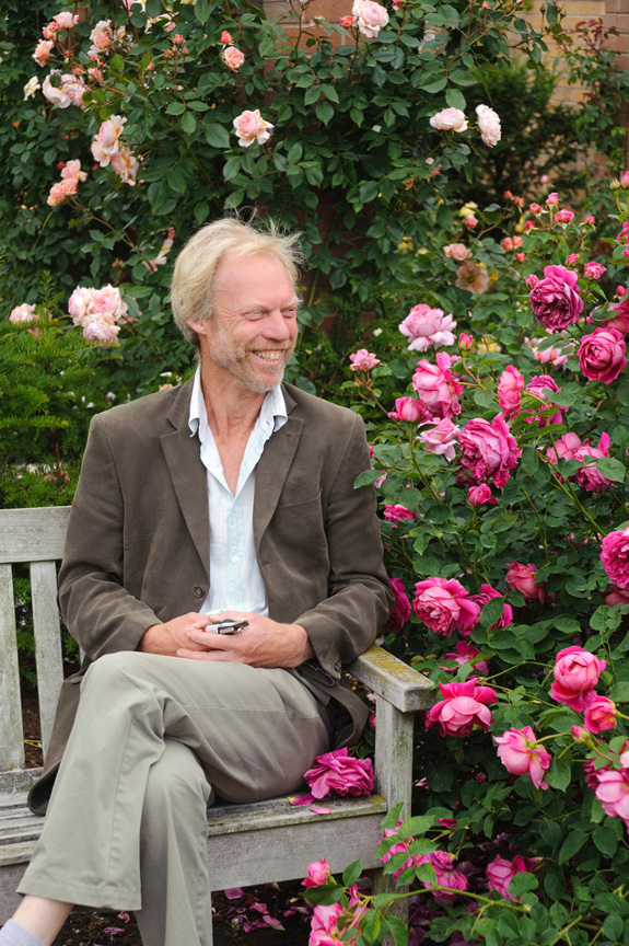 Michael Marriott, technical manager and senior rosarian of David Austin Roses, in the show garden of David Austin Roses Ltd in the village of Albrighton in Shropshire, England.