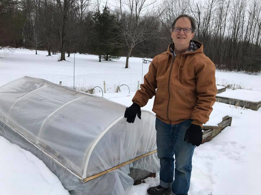 Sue Gilmore has been gardening most of her life. She's growing a wide variety of plants and wants to up her game when it comes to winter gardening. Her husband John enjoys building things for the garden like this mini hoop house.