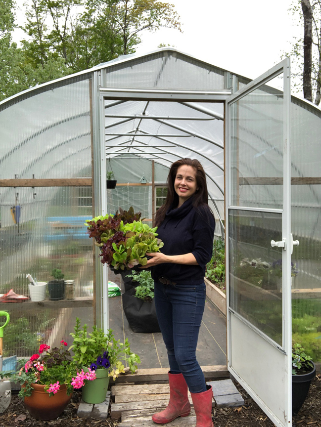 Niki Jabbour is an expert at growing plants year round even in Nova Scotia. She's seen here in front of her poly tunnel.