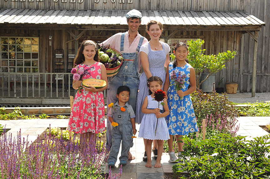 Jere Gettle and his family at Baker Creek Heirloom Seeds. Back, Jere, Emily , front, Sasha, Ella, Malia and Cyan Gettle.