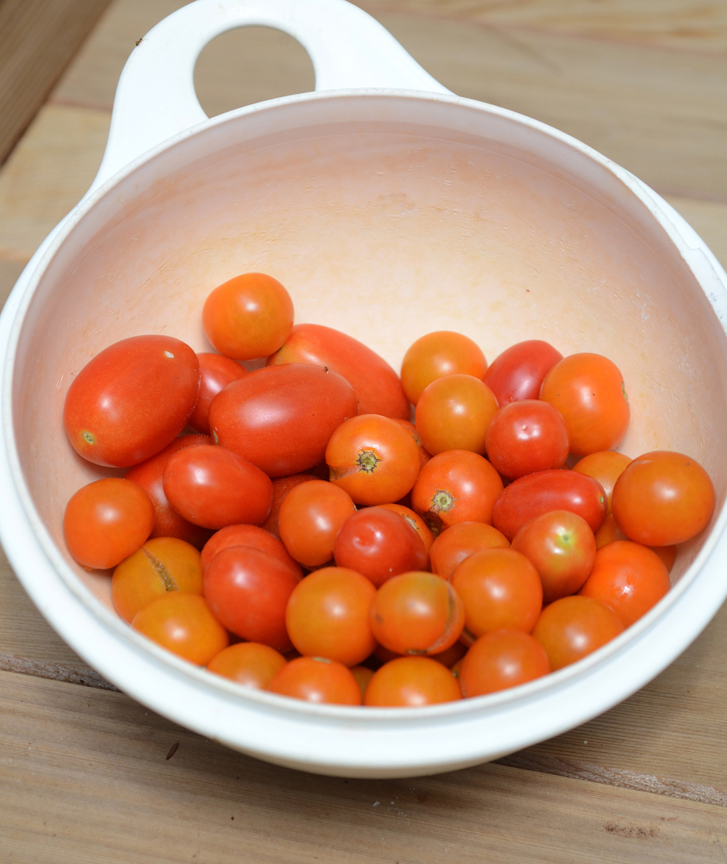 Cherry tomatoes are prolific, the small orange fruits are from 'Sungold.' They are sweet, but still offer a tomato flavor.